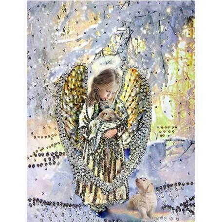 Набор для вышивания хрустальными бусинами ОБРАЗА В КАМЕНЬЯХ арт. 5510 'Лесной ангел' 32,5х27,5 см