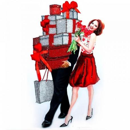 Набор для вышивания хрустальными бусинами ОБРАЗА В КАМЕНЬЯХ арт. 5514 'Женское счастье' 37х60 см