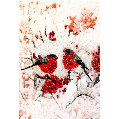 Набор для вышивания хрустальными бусинами ОБРАЗА В КАМЕНЬЯХ арт. 5518 'Снегири' (фрагмент) 22х30 см