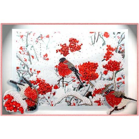Набор для вышивания хрустальными бусинами ОБРАЗА В КАМЕНЬЯХ арт. 5519 'Снегири' 42х28 см