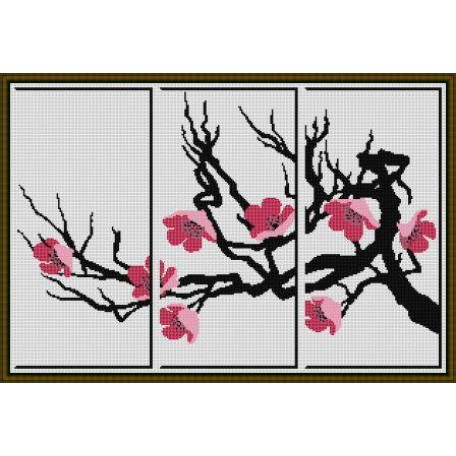 Набор для вышивания 'Орнамент' арт. ВЦ-009 Триптих 'Сакура' 54х36