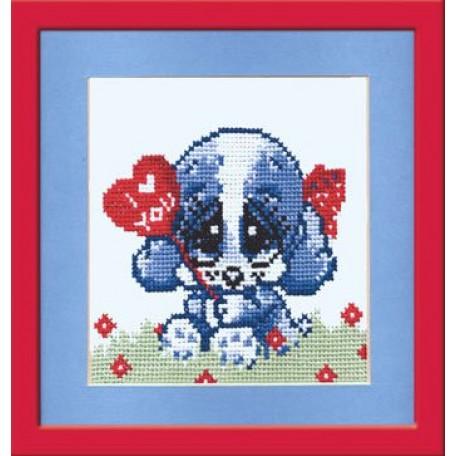 Набор для вышивания арт.Овен - 044 'Собачка с сердцем' 11x11 см
