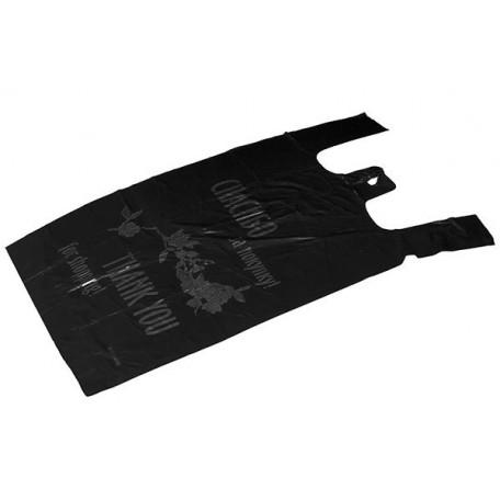 Пакет майка ПНД 25х45 черный 'Спасибо за покупку' фас.100шт. 11мкр
