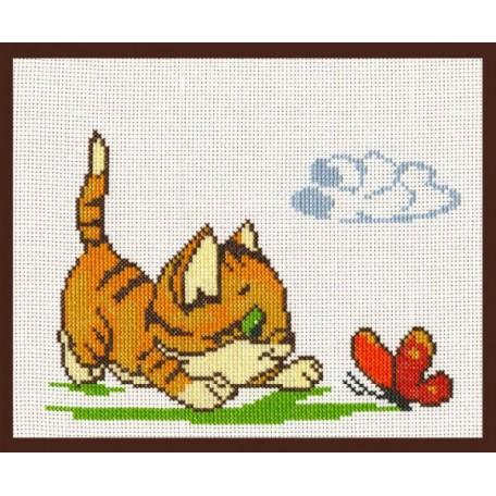 Набор для вышивания 'Палитра' арт.05.001 'Катенок с бабочкой' 20*15 см