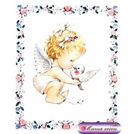 РТ130017 Папертоль 'Ангел с голубем в рамке' 9х10см