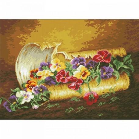 Набор 'Паутинка' для изготовления картины со стразами арт.М201 Анютины глазки 58х42 см