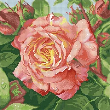 Набор 'Паутинка' для изготовления картины со стразами арт.М208 Чайная роза 30х30 см