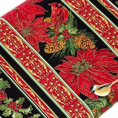 ST.G.CM1265.BLACK Ткань для пэчворка 100 % хлопок шир.110 см Timeless Treasure Holiday Border Stripe