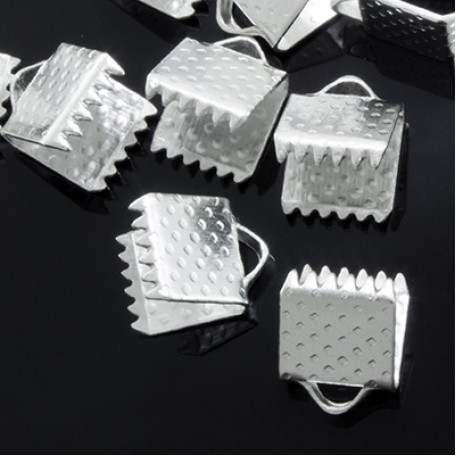 Планки-Зажимы металл арт. МБ.УТ2909 цв.серебро 8х6 мм 20шт
