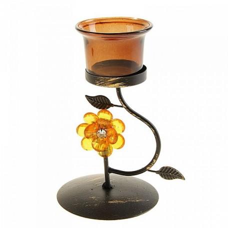 СЛ.113454 Подсвечник металл 1 свеча астра изгиб кофе