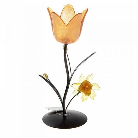 СЛ.152382 Подсвечник металл 1 свеча Аленький цветочек h-12,5 см оранжевый
