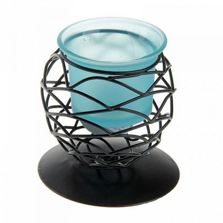 СЛ.152433 Подсвечник металл 1 свеча Сфера h-8,5 см голубой