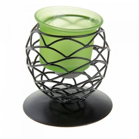 СЛ.152434 Подсвечник металл 1 свеча Сфера h-8,5 см зеленый