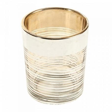 СЛ.847233 Подсвечник стекло 'Полосочка' цв.золото 6,7х5,3х5,3см