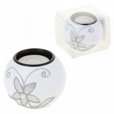 СЛ.981456 Подсвечник дерево 1 свеча 6 x 6 x 6 см 'Серебристый цветок' цв.белый