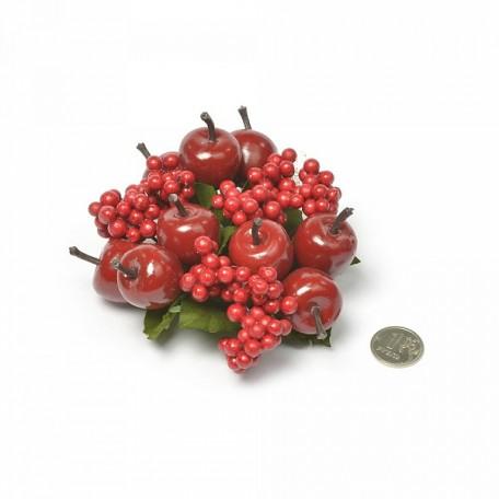 Венок для свечей из ягод арт.ZA.5323/670377 цв.красный 12см