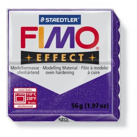 FIMO Effect полимерная глина, запекаемая в печке, уп. 56 гр. цв.фиолетовый с блестками, арт.8020-602