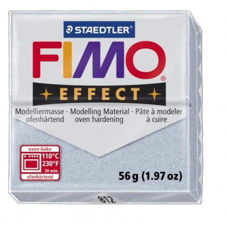 FIMO Effect полимерная глина, запекаемая в печке, уп. 56 гр. цв.серебряный с блестками, арт.8020-812