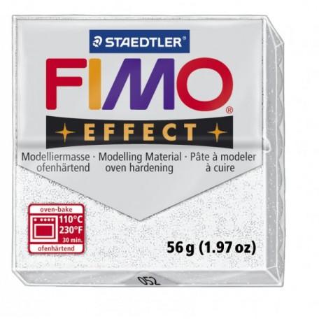 FIMO Effect полимерная глина, запекаемая в печке, уп. 56 гр. цвет: белый с блестками, арт. 8020-052