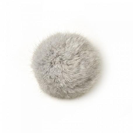 Помпон натуральный арт.PNK041 Кролик 8см цв.натуральный серый