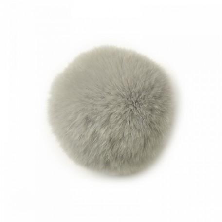 Помпон натуральный арт.PNK052 Кролик 8см цв.серый