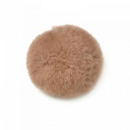 Помпон натуральный арт.PNK054 Кролик 8см цв.грязно-розовый
