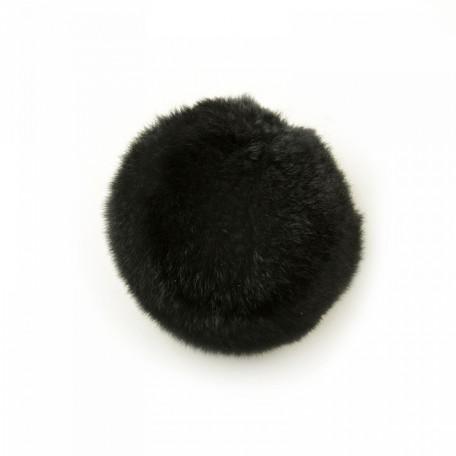 Помпон натуральный арт.PNK055 Кролик 8см цв.черный