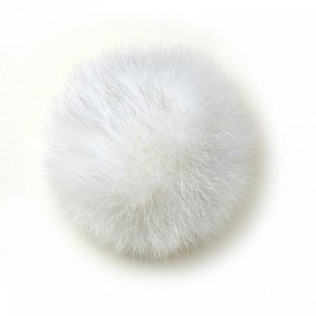 Помпон натуральный арт.PNP022 Песец 10см цв.белый