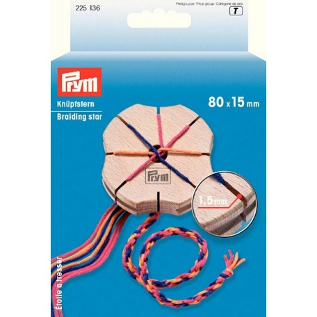PR.225136 PRYM Звезда для плетения шнуров кумихимо 80х15 мм дерево
