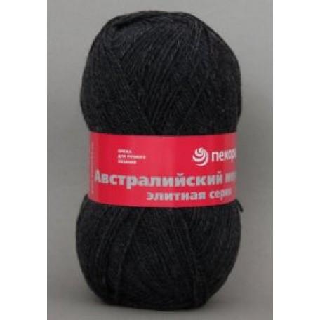 Пряжа для вязания ПЕХ 'Австралийский меринос' (95% мериносовая шерсть, 5% акрил в/о) 5х100гр/400м цв.002 черный