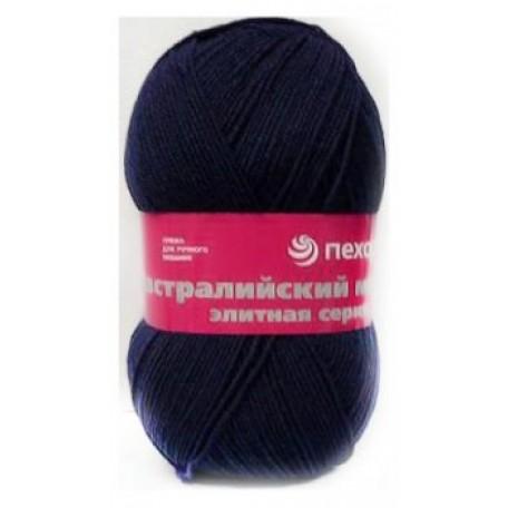Пряжа для вязания ПЕХ 'Австралийский меринос' (95% мериносовая шерсть, 5% акрил в/о) 5х100гр/400м цв.004 т.синий