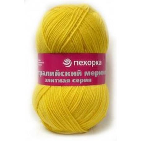 Пряжа для вязания ПЕХ 'Австралийский меринос' (95% мериносовая шерсть, 5% акрил в/о) 5х100гр/400м цв.118 подсолнух