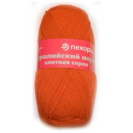 Пряжа для вязания ПЕХ 'Австралийский меринос' (95% мериносовая шерсть, 5% акрил в/о) 5х100гр/400м цв.189 яр.оранжевый