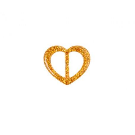 Пряжка пластмассовая арт.TBY- D1600-3 d=20мм сердце цв.золото