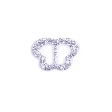 Пряжка пластмассовая арт.TBY- D1608-2 d=20мм бабочка цв.серебро