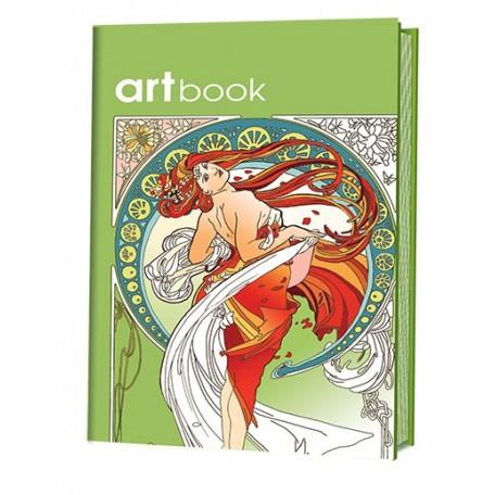 Записная книга-раскраска ARTbook. Ар-нуво (зеленая) ISBN 978-5-91906-623-1 ст.24 арт.6231