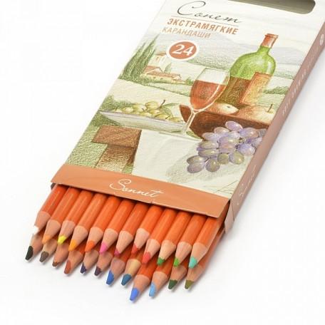 Набор экстрамягких карандашей Сонет арт.НП.13441622 уп.24 цвета