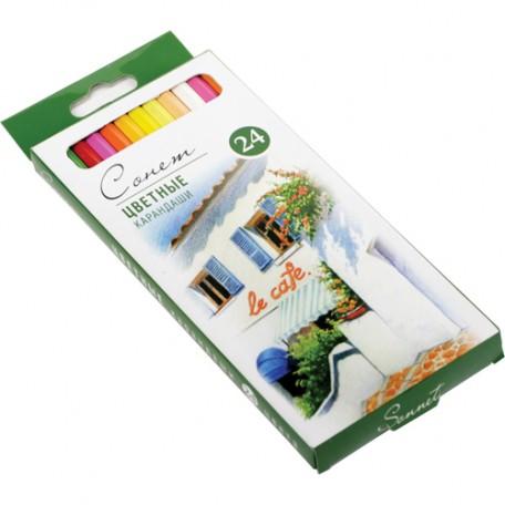 Набор профессиональных цветных карандашей Сонет арт.НП.13141433 уп.24 цвета
