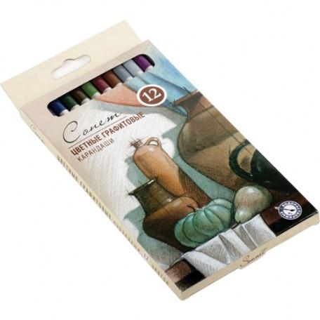 Набор цветных графитовых карандашей Сонет арт.НП.13541443 уп.12 цветов