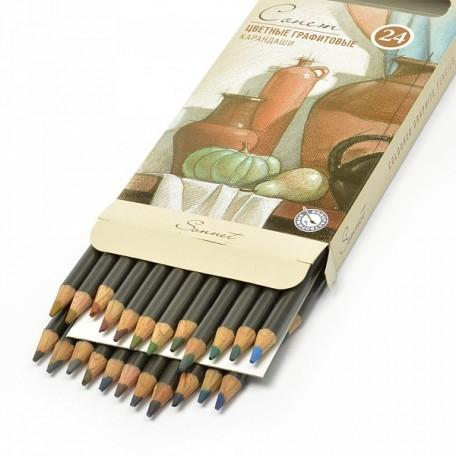 Набор цветных графитовых карандашей Сонет арт.НП.13541620 уп.24 цвета