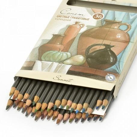 Набор цветных графитовых карандашей Сонет арт.НП.13541621 уп.36 цветов