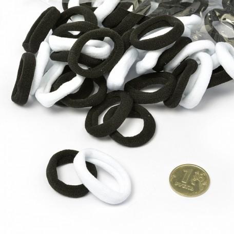 Резинка для волос арт.MS.AV.R.F2 диам.2,5 см цв.черный и белый упак. 70 шт.
