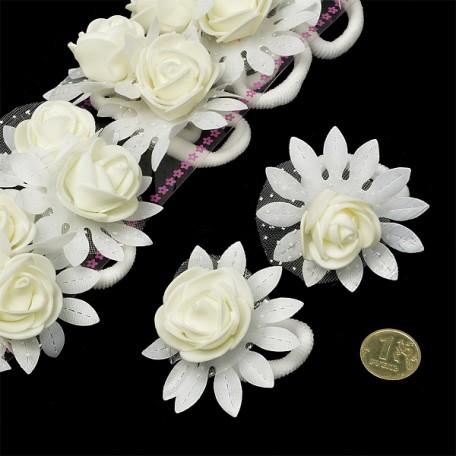 Резинка для волос арт.MS.AVZ.A134/1 с цветком диам.5см цв.белый упак. 20 шт.