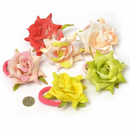 Резинка для волос арт.MS.AVZ.A1743 с цветком диам.6см цв.ассорти упак. 10 шт.