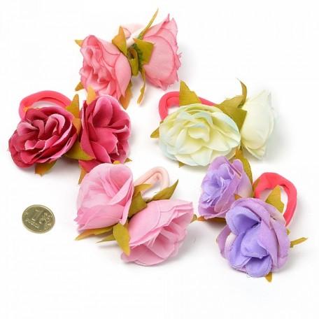 Резинка для волос арт.MS.AVZ.A1745 с цветком диам.7см цв.ассорти упак. 10 шт.