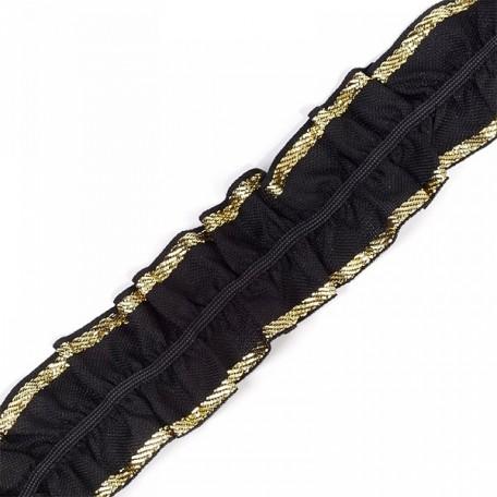 Лента 'Рюш' траурная арт.с3416г17т/4 рис.8663 шир.40 мм цв. черный/золото уп.10м