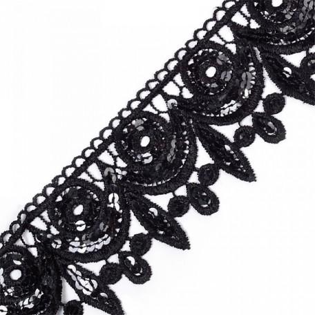 Кружево на сетке с пайетками арт.TBY-JH006 шир.70мм цв. черный уп.6,86м