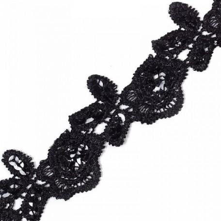 Кружево на сетке с пайетками арт.TBY-JH008 шир.40мм цв. черный уп.6,86м