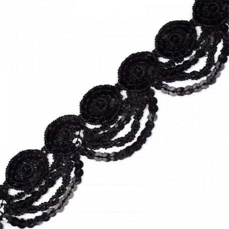Кружево на сетке с пайетками арт.TBY-JH009 шир.40мм цв. черный уп.6,86м