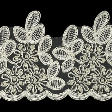Кружево премиум арт.TBY-E091B шир.100мм цв.молочный уп.6,86м